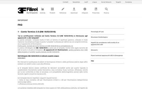 Screenshot of FAQ Page 3f-filippi.it - Illuminazione 3F Filippi spa - illuminazione tecnica efficiente - plafoniere - faretti da incasso - captured Oct. 20, 2018