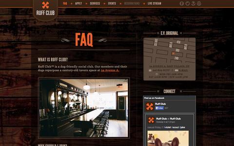 Screenshot of FAQ Page ruffclub.com - FAQ - Ruff Club - East Village Dog-Friendly Social Club - captured Oct. 7, 2014