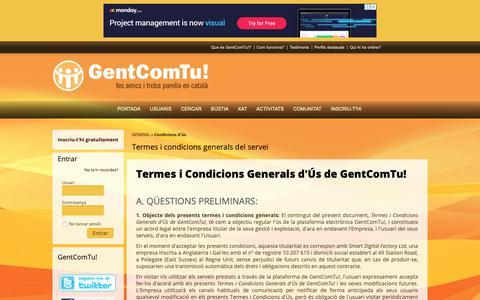Screenshot of Terms Page gentcomtu.com - GentComTu!: Termes i condicions generals del servei - captured Nov. 8, 2018
