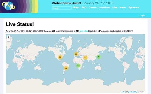 Screenshot of Maps & Directions Page globalgamejam.org - Live Status! | Global Game Jam® - captured Nov. 9, 2018