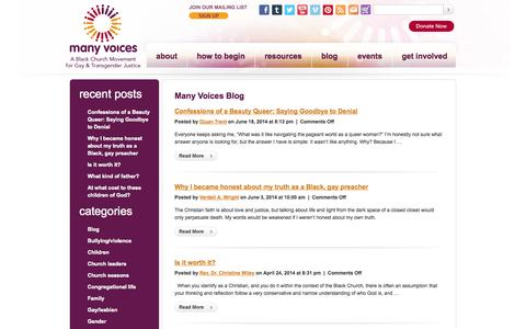 Screenshot of Blog manyvoices.org - Many Voices | A Black Church Movement for Gay & Transgender Justice - captured Sept. 30, 2014