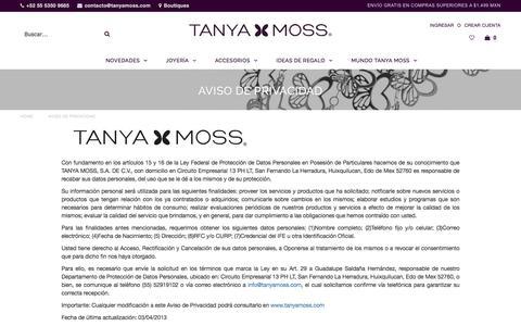 Aviso de Privacidad – Tanya Moss