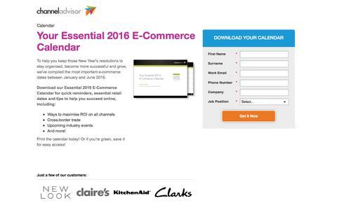 Screenshot of Landing Page channeladvisor.com - Your Essential 2016 E-Commerce Calendar - captured March 22, 2016