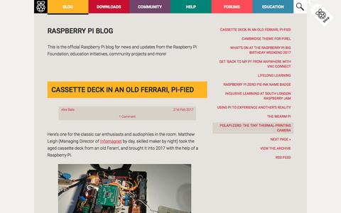 Screenshot of Blog raspberrypi.org - Raspberry Pi Blog - News, Announcements, and Ideas - captured Feb. 21, 2017