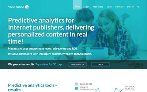 Screenshot of Home Page youneeq.ca - Predictive analytics for big data - Youneeq - captured Sept. 17, 2014