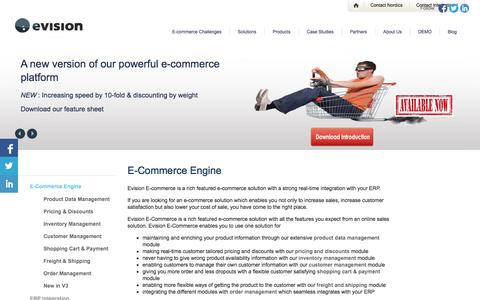 Screenshot of Products Page evision-commerce.com - Evision E-Commerce - richt features enabling your online sales goals - captured Oct. 1, 2014