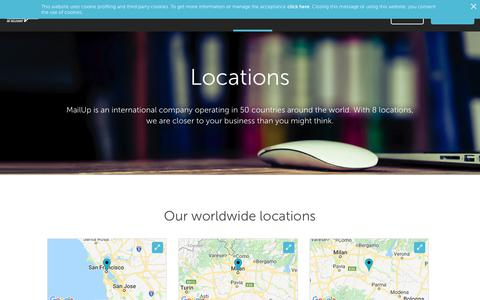 Screenshot of Locations Page mailup.com - Locations - Email Marketing Software | MailUp - captured Dec. 8, 2018