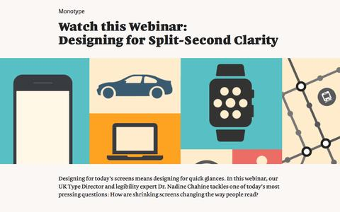 Screenshot of Landing Page monotype.com - Webinar: Designing for Split-Second Clarity - captured Feb. 5, 2017