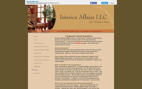 Screenshot of FAQ Page interioraffairssa.com - Interior Affairs LLC - FAQs - captured Oct. 12, 2018