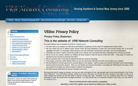 Screenshot of Privacy Page vrbnc.com - VRBnc Privacy Policy «  VRB Network Consulting - captured Oct. 26, 2014