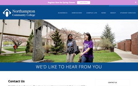 Screenshot of Contact Page northampton.edu - Contact Us | Northampton Community College - captured Dec. 14, 2018
