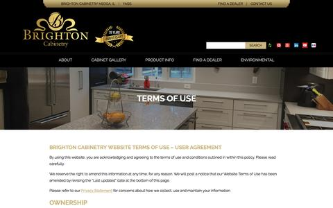 Screenshot of Terms Page brightoncabinetry.com - Terms Of Use - Brighton Cabinetry - captured Nov. 23, 2016