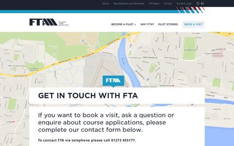 Screenshot of Contact Page fta-global.com - Contact FTA - Pilot Flight Training Academy UK - captured Oct. 5, 2014