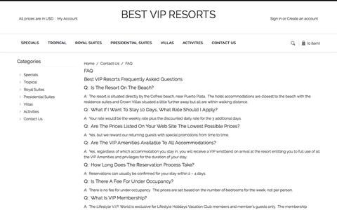 Screenshot of FAQ Page bestvipresorts.com - Contact Us - FAQ 1 - bestvipresorts - captured July 29, 2016