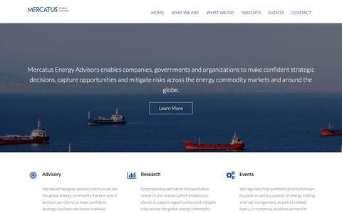 Screenshot of Home Page mercatusenergy.com - Energy Trading & Risk Management | Advisory, Strategy & Research | Mercatus Energy Advisors - captured Nov. 15, 2018