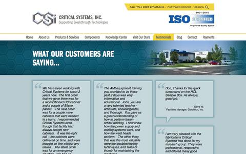 Screenshot of Testimonials Page criticalsystemsinc.com - Testimonials | Customer Reviews - Critical Systems, Inc. - captured July 23, 2018