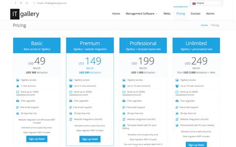 Screenshot of Pricing Page itgalleryapp.com - Art Gallery Software Prices   ITgallery - captured Oct. 6, 2014