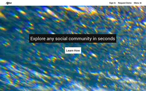 Screenshot of Home Page affin.io - Affinio - captured Oct. 4, 2014