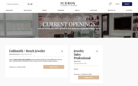 Screenshot of Jobs Page icebox.com - Jobs Available - Jewelers, Diamond Setters, Salespeople in Atlanta GA - captured July 17, 2019