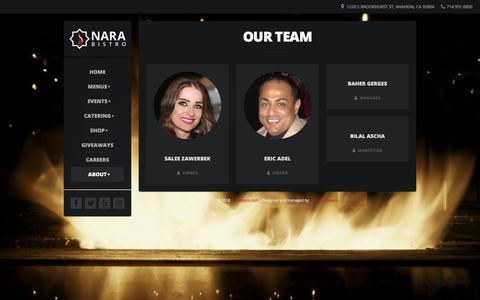 Screenshot of Team Page narabistro.com - Our Team – Nara Bistro - captured Sept. 20, 2018