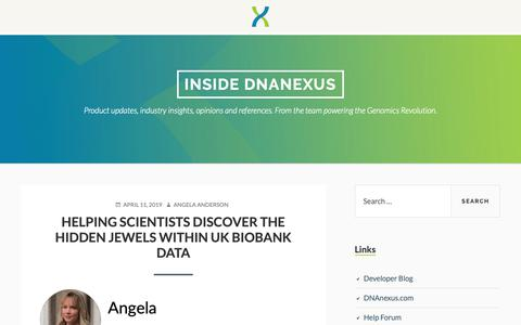 Screenshot of Blog dnanexus.com - Inside DNAnexus – Product updates, industry insights, opinions and references. From the team powering the Genomics Revolution. - captured May 16, 2019