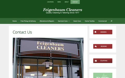 Screenshot of Contact Page feigenbaumcleaners.com - Contact Us | Quality Dry Cleaning in Saratoga Springs and Glens Falls NY - captured Aug. 12, 2018