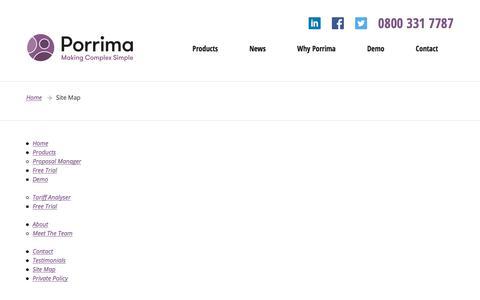 Screenshot of Site Map Page porrima.co.uk - Site Map - Porrima - captured Sept. 24, 2018