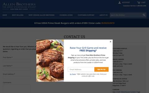 Screenshot of Contact Page allenbrothers.com - Buy steaks! Order USDA Prime beef online by Allen Brothers - captured June 15, 2019