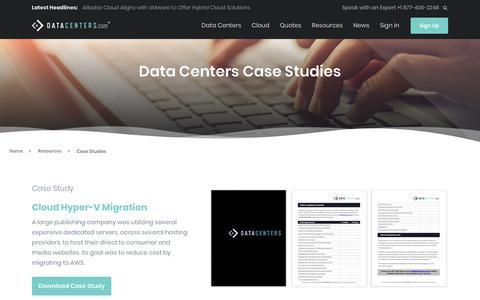 Screenshot of Case Studies Page datacenters.com - Case Studies - captured Sept. 24, 2018