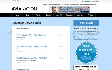 Screenshot of Support Page avianation.com - Customer Service Jobs | AviaNation.com - captured Sept. 5, 2016
