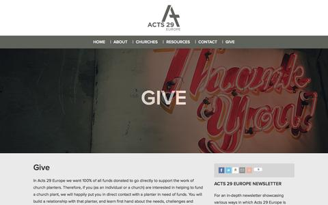 Screenshot of Support Page acts29europe.com - :: Acts 29 Europe Give » Acts 29 Europe :: - captured Sept. 30, 2014