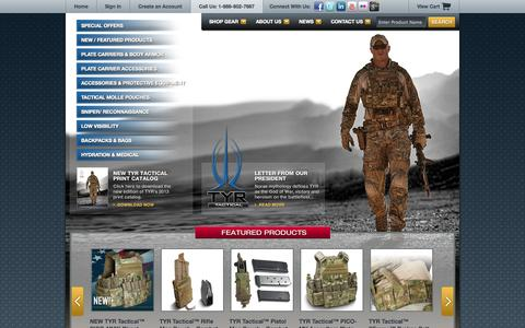 Screenshot of Home Page tyrtactical.com - TYR Tactical - Plate Carrier, Body Armor, Tactical Gear, Tactical Armor - captured Oct. 1, 2014