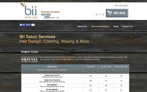 Screenshot of Services Page biihairsalon.com - Bii Salon Services | Bii Hair Salon - captured Jan. 3, 2016