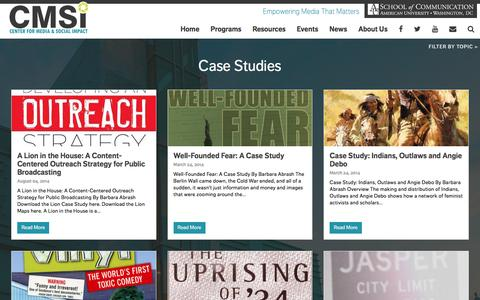 Screenshot of Case Studies Page cmsimpact.org - Case Studies Archives - Center for Media and Social Impact - captured Sept. 24, 2016