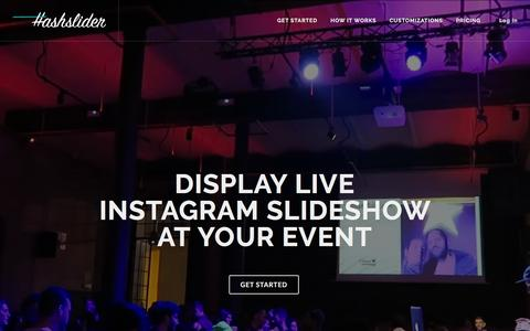 Screenshot of Home Page hashslider.com - Hashslider: Live Instagram feeds & Slideshow maker for Instagram - captured Jan. 26, 2017