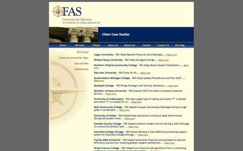 Screenshot of Case Studies Page financialaidservices.org - Financial Aid Services - Client Case Studies - captured Oct. 5, 2014