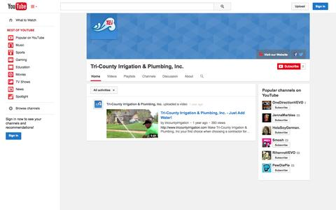 Screenshot of YouTube Page youtube.com - Tri-County Irrigation & Plumbing, Inc.  - YouTube - captured Oct. 25, 2014