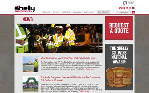 Screenshot of Press Page shellyco.com - News | The Shelly Company - captured Oct. 6, 2014