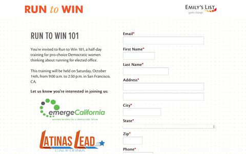 Screenshot of Landing Page emilyslist.org - EMILY's List  |  Run to Win | EMILY's List - captured Oct. 21, 2017