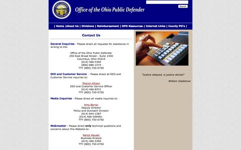 Screenshot of Contact Page ohio.gov - Contact Information - captured Oct. 27, 2014