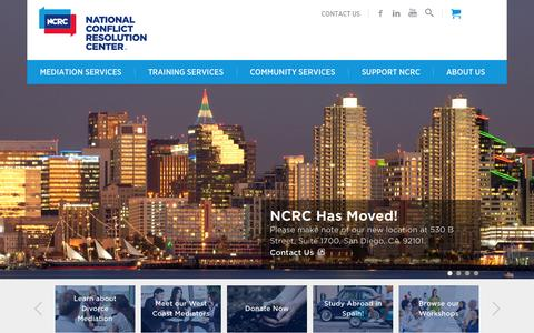 Screenshot of Home Page ncrconline.com - Conflict Resolution Services | National Conflict Resolution Center - captured Aug. 17, 2015