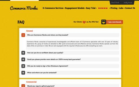 Screenshot of FAQ Page commercemonks.com - E-Commerce Services, Design & Technical Support FAQs – Commerce Monks - captured Sept. 19, 2014