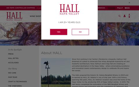 Screenshot of About Page hallwines.com - About HALL Wines | Napa Valley | HALL Wines - captured Sept. 30, 2018