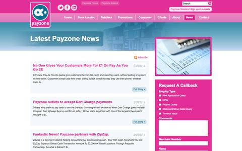 Screenshot of Press Page payzone.co.uk - The Latest Payzone News - captured Sept. 24, 2014
