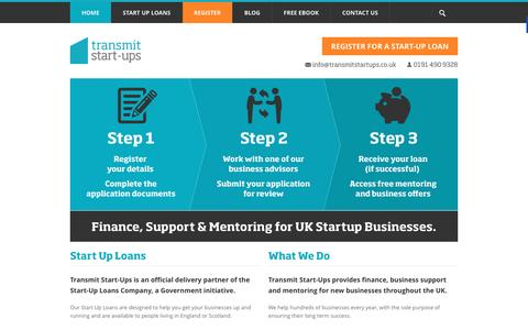 Screenshot of Home Page transmitstartups.co.uk - Finance, Support & Mentoring for UK Start-up Businesses. - captured Jan. 15, 2016