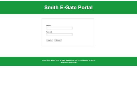 Screenshot of Login Page smithdrug.com - Login - captured Oct. 9, 2014