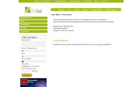 Screenshot of Testimonials Page spicewebs.in - web design chennai | customer feedback - spice webs - captured Jan. 17, 2016