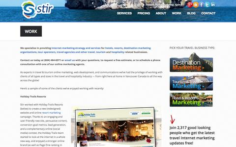 Screenshot of Case Studies Page stirtourism.com - Travel Tourism Hospitiality Internet Marketing Social Media Examples Case Studies - captured Oct. 7, 2014