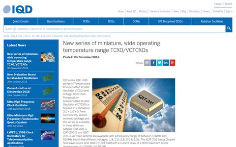 Screenshot of Press Page iqdfrequencyproducts.com - New series of miniature, wide operating temperature range TCXO/VCTCXOs • IQD Press Release - captured Dec. 17, 2018