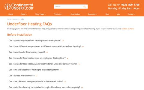 Screenshot of FAQ Page ufh.co.uk - Underfloor Heating FAQs - Continental Underfloor - captured Sept. 29, 2018